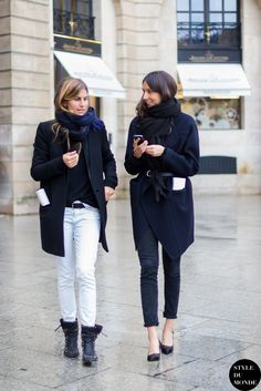 Morgane Bedel and Geraldine Saglio after after Emanuel Ungaro fashion show. Shop these looks (or similar) here: Coat: O'2nd Felt Long Coat // ASOS Coat With Zip Detail In Trapeze Shape // PRO…