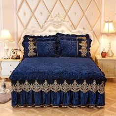 [New] The 10 Best Home Decor (with Pictures) - DM or comment to order. Home Textile Velvet Thick Bed Sheet Pillowcases set Luxury Solid Princess Bedding Bed Skirt Lace Bedspread Mattress Cover. Bed Cover Design, Bed Design, Lace Bedding, Bedding Sets, Mattress Covers, Bed Covers, Draps Design, Designer Bed Sheets, Cama Queen