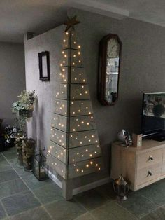 Love this idea! No room for a Christmas Tree? This is such a cute idea!    http://www.craftymorning.com/creative-christmas-decorations