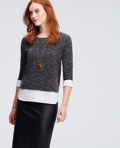 Image of Petite Two-in-One Heathered Knit Woven Top