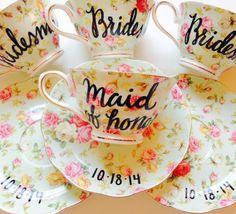 Floral BRIDE Tea Cup & Saucer wedding coffee by VelvetCrownDesign