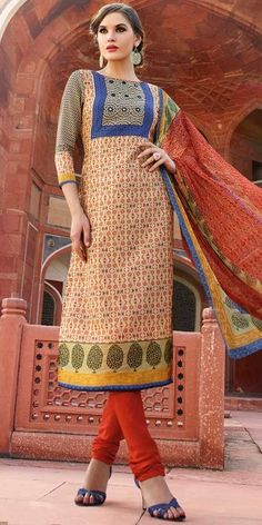 Attractive Orange And Multi-Color Straight Silk Straight Salwar Suit With Dupatta.