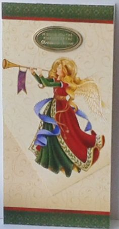 Christmas Angel. £2.50 + P&P This is a tall DL card. It has a patterned background in light beige with lots of swirls. Across the top & bottom are borders in a green pattern with red stripe. In the centre is a large picture of an angel, and a sentiment in green,gold foil border and gold foil words Wishing you the very best of the Christmas Season. Card is 21 cms x 10 cms. The inside is blank for you to add a message and it comes with a matching coloured envelope. For male/female,Adults.
