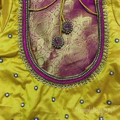 Mirror work for a change 😍 Swipe ⬅️… Best Blouse Designs, Simple Blouse Designs, Sari Blouse Designs, Designer Blouse Patterns, Bridal Blouse Designs, Hand Embroidery Dress, Embroidery Blouses, Tambour Embroidery, Simple Embroidery