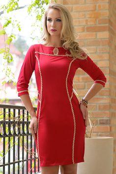 Vestido em cotton satin com detalhe de fita brilho e zíper