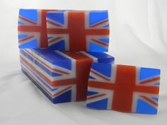 Seriously cool Union Jack soap bars.