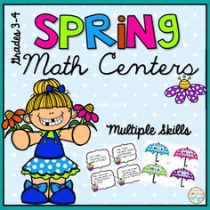 Spring Math Centers - Spring Math Centers were created to practice some of the math skills taught in grades 3 and 4 during the spring months.There are 5 centers included in this package:Buggy Subtraction ( pages 3-15)Fraction Bunny Race (pages 16-25)Rainy Day Connect Four (pages 26-33)Graph It (pages 34-43)Area and Perimeter (pages 44-47)These fall math centers are aligned to the common Core Standards for grades 3 and 4 for the skills of Subtraction, Fraction Equivalency, Line Plots, Bar…