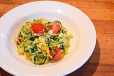 Zucchini Noodle salad with honey chilli vinaigrette.