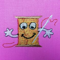 Création broderie machine de la mascotte Oh My Broderie sur coton rose #broderie #broderiemachine #mascotte #embroidery #machineembroidery #coton #bobine Creations, Rose, Embroidery Software, Cotton, Pink, Roses