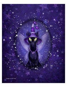 Ash Evans black fairy cat cameo print van AshEvans op Etsy, $15.00