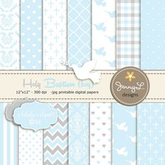 Boy Baptism Digital Papers, First Communion Digital Scrapbooking Papers, Boy Baptism, Damask Paper- Plus FREE Labels / Dove Bird Clipart