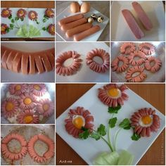 Food Art Plate – Hot Dog Daisy PS: I rather use sausages with the eggs. Cute Food, Good Food, Making Hot Dogs, Breakfast Desayunos, Funny Breakfast, Hot Dog Recipes, Flower Food, Sausage And Egg, Food Decoration
