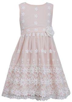 5594fdd367b Ella Blu Store - Bonnie Jean Easter Floral Border Lace Mesh Overlay Pink  Dress 7-