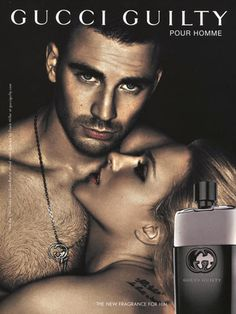 The advertisement  of a man and a woman with the woman helpless in his arms doing what ever he desires. This perfume is called guilty it is a perfume from men and it draws to the married and single population of men who wish to have women all over them at their beck and call. This cologne depicts that when wearing this fragrance you are irresistible to all attractive women and they will let you take control of them.