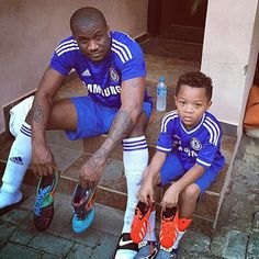 Hi It's Spirited Princess World News: Soccer Time! Peter Okoye & Son rock matching Chels...