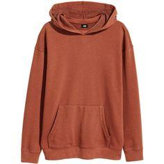 H&M Hoodie 24,99 ($35) ❤ liked on Polyvore featuring tops, hoodies, hooded sweatshirt, hooded pullover, brown hoodie, brown top and hoodie top