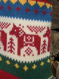 dala horse stitch pattern for a stocking. Knitted Christmas Stocking Patterns, Knitted Christmas Stockings, Christmas Knitting, Fair Isle Knitting Patterns, Knitting Charts, Knitting Socks, Knitting Machine, Fair Isles, Mittens Pattern