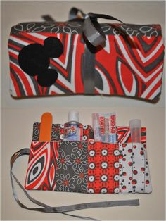 Homemade organizer roll to carry small first aid items, etc. in a purse or tote bag.  This one contained a nail file, hand sanitizer, band-aid, lip balm and small empty container.