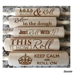 "Shop ""Rollin' in The Dough"" Engraved Baking Rolling Pin created by qualtry. Rolling Pin Display, Crafts To Make, Diy Crafts, Baked Rolls, Diy Shutters, Laundry Room Signs, Wooden Hoop, White Elephant Gifts, Pyrography"