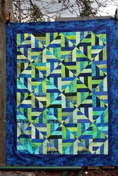 "In honor of my team:  GO SEATTLE SEAHAWKS!  You can find the free pattern for Strip Twist under the free patterns tab at the top of the blog at http://quiltville.blogspot.com It is made from 2.5"" strips and is a Jelly Roll Friendly pattern!"