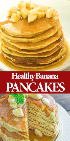 pancake videos These kid friendly Healthy Banana Pancakes are easy to make and so fluffy and tasty. And theres no added sugar! These are a must try for any pancake lover. Pancakes Easy, Banana Pancakes, Banana Breakfast, Breakfast Dessert, Breakfast Recipes, Baby Food Recipes, Cake Recipes, Dessert Recipes, Cooking Recipes