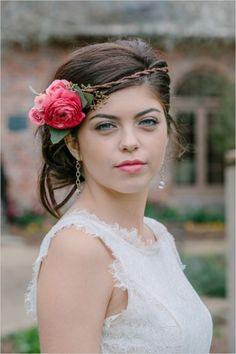pink floral headband #weddinghair #floralheadband #weddingchicks http://www.weddingchicks.com/2014/04/02/will-you-be-my-bridesmaid-party-3/