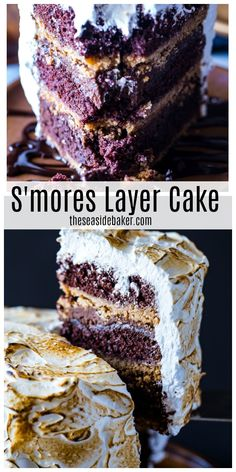 This S'Mores Layer Cake is a delectable s'mores dessert that lets you enjoy a taste of summer all year long. No campfire required! Cake Recipes For Kids, Best Dessert Recipes, Cupcake Recipes, Cupcake Cakes, Baker Recipes, Baby Cakes, Cupcakes, Chocolate Ganache Filling, Chocolate Cake