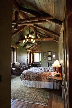Not a tiny home, but a lodge, but this could be the main room in a tiny home.