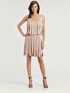 Milly Sage Embellished Pieced Dress