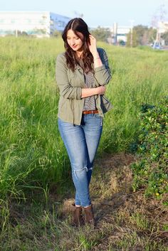 Olive Green Military Jacket + Black and White Striped T-Shirt + Distressed Skinny Jeans + Ankle Boots #spring #outfit