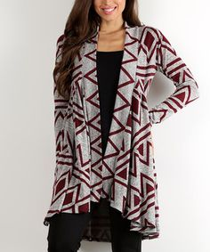 Burgundy & Gray Geometric Open Cardigan