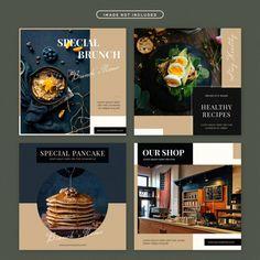 Food social media post set Premium Psd | Premium Psd #Freepik #psd #banner #food #template #restaurant