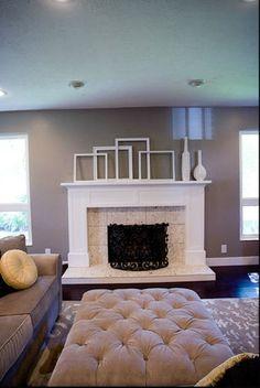 Fireplace Mantle- dark floor, grey wall