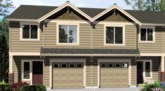 4 bdroom Duplex with Matching 20'-Wide Units (add 10' for double garage) 1,400 sq ft each - 38016LB | 2nd Floor Master Suite, CAD Available, Narrow Lot, PDF | Architectural Designs