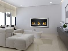 Ignis Magnum - Wall Mounted Ethanol Fireplace With Glass