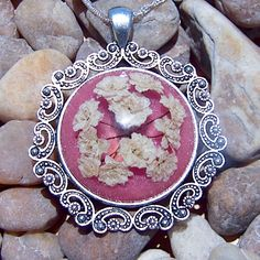 Handmade White Florida Wildflower Pendant Necklace Cameo with