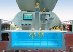 A LEGO celebration for the Olympic games by Gary Davis!!  LEGO Aquatic Centre Front View