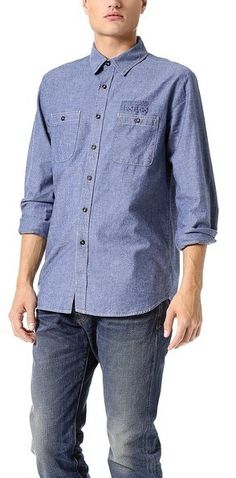 $260, Coast Wide Bandana Print Chambray Shirt. Sold by East Dane. Click for more info: https://lookastic.com/men/shop_items/307642/redirect
