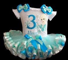 Sparkle+Elsa+Birthday+Tutu+Outfit+Platinum+por+LittleKeikiBouTiki