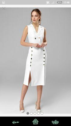 Trendy dress white midi casual in 2020 Trendy Dresses, Simple Dresses, Nice Dresses, Casual Dresses, Fashion Dresses, Summer Dresses, Classy Dress, Classy Outfits, White Fashion