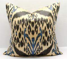 18x18 ikat pillow cover, Ikat Pillow, black, blue, cream, ikat, 18x18 Pillows, Pillowcases, ikat cushion, Home Decor, interior pillows by SilkWay on Etsy https://www.etsy.com/listing/237327887/18x18-ikat-pillow-cover-ikat-pillow