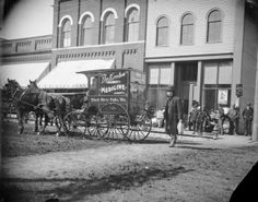 1890's photo on Main Street in Black River Falls, Wisconsin. Dr. Krohn's medicine wagon in photo.