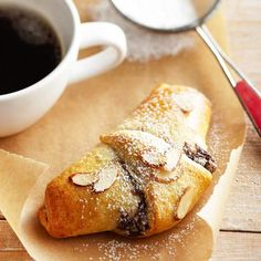 Easy Chocolate-Almond Croissants:  Refrigerated crescent rolls make recreating this rich French pastry so easy.