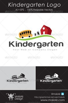 Kindergarten Logo 2  #GraphicRiver                                Simple, clean and modern Kindergarten Transport logo template. High quality fully layered and fully editable vector ai + EPS , easy to change colors and adjustable to any size. CMYK.  Font used in tag line : Century Gothic (Standar)  Font used in this :