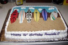 Surf Board Cake Surfboard/Beach cake for my nieces Hawaii themed birthday party