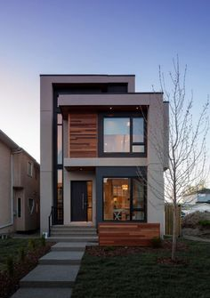 most popular modern dream house exterior design ideas for you 33 - Architecture Minimalist House Design, Modern House Design, Duplex Design, Modern Contemporary House, Home Design, Small Modern Home, Modern Homes, Narrow House, House Front Design