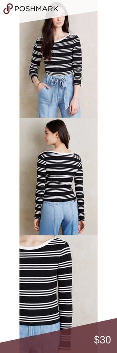 Anthropologie Everleigh Striped Top Cute black and white striped top by Everleigh for Anthropologie. Listed as a crop top but hits at about the waist. Slightly thicker than the average tee shirt. Fits between an XS-M because of fabric's give. Worn once :) Anthropologie Tops Crop Tops
