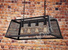 Industrial Metal Cage Ceiling Light With Wire Netting, A Vintage Hanging Light