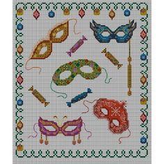 0 point de croix masques de carnaval - cross stitch carnival masks