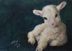 Baby Lamb Animal Art Melody Lea Lamb ACEO Print by MelodyLeaLamb, $6.25